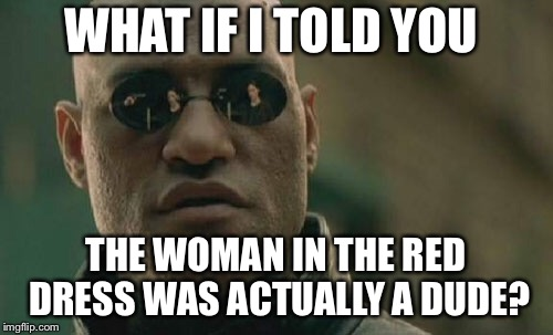 Matrix Morpheus Meme | WHAT IF I TOLD YOU THE WOMAN IN THE RED DRESS WAS ACTUALLY A DUDE? | image tagged in memes,matrix morpheus | made w/ Imgflip meme maker