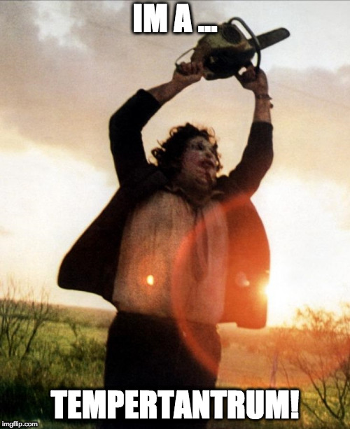 Leatherface | IM A ... TEMPERTANTRUM! | image tagged in leatherface | made w/ Imgflip meme maker
