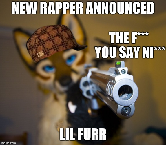 Rapper Furry | NEW RAPPER ANNOUNCED LIL FURR THE F*** YOU SAY NI*** | image tagged in furry with gun,scumbag,rap,pistol | made w/ Imgflip meme maker