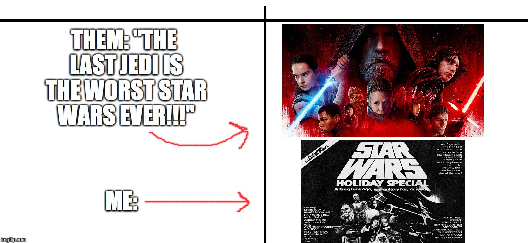 "No Comparison  | THEM: ""THE LAST JEDI IS THE WORST STAR WARS EVER!!!"" ME: 