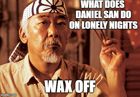 WHAT DOES DANIEL SAN DO ON LONELY NIGHTS WAX OFF | image tagged in wax on wax off | made w/ Imgflip meme maker