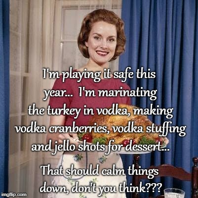 Playing it safe for Thanksgiving... | I'm playing it safe this year...  I'm marinating the turkey in vodka, making vodka cranberries, vodka stuffing and jello shots for dessert.. | image tagged in marinating turkey,vodka,cranberries,stuffing,jello shots,calm | made w/ Imgflip meme maker