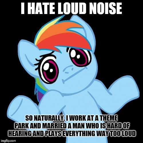 Pony Shrugs | I HATE LOUD NOISE SO NATURALLY, I WORK AT A THEME PARK AND MARRIED A MAN WHO IS HARD OF HEARING AND PLAYS EVERYTHING WAY TOO LOUD | image tagged in memes,pony shrugs | made w/ Imgflip meme maker