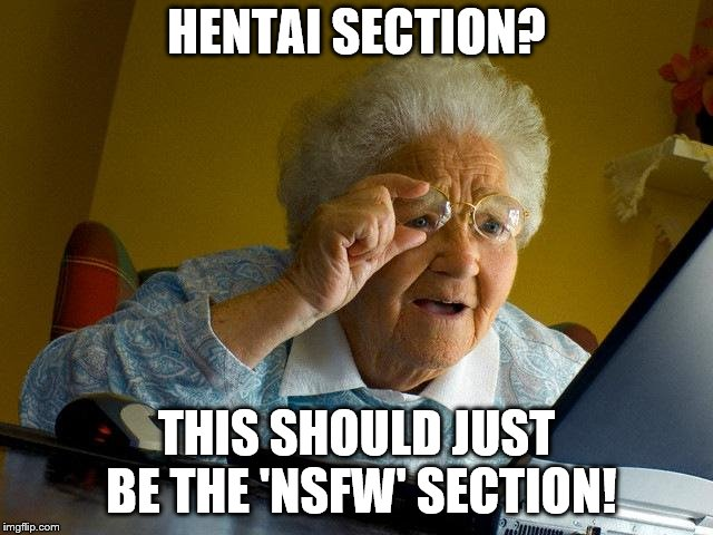 Grandma Finds The Internet Meme | HENTAI SECTION? THIS SHOULD JUST BE THE 'NSFW' SECTION! | image tagged in memes,grandma finds the internet | made w/ Imgflip meme maker