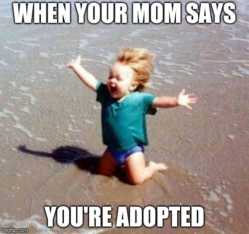 Celebration | WHEN YOUR MOM SAYS YOU'RE ADOPTED | image tagged in celebration | made w/ Imgflip meme maker