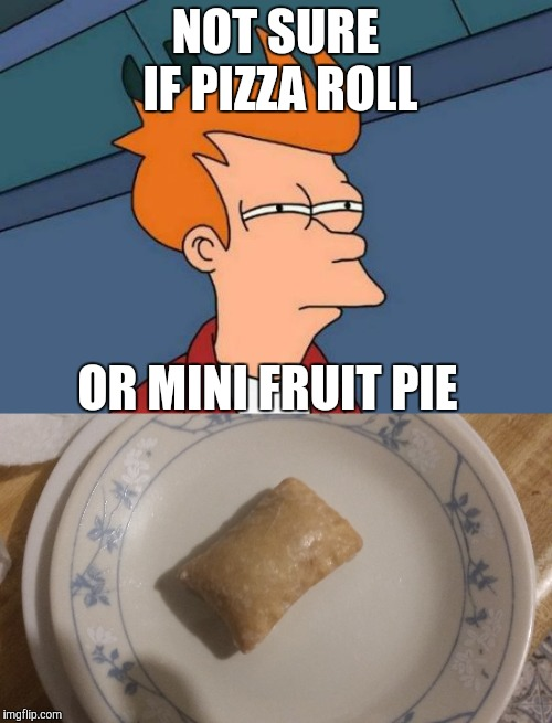 You decide.  | NOT SURE IF PIZZA ROLL OR MINI FRUIT PIE | image tagged in memes,futurama fry,food,lookalike | made w/ Imgflip meme maker