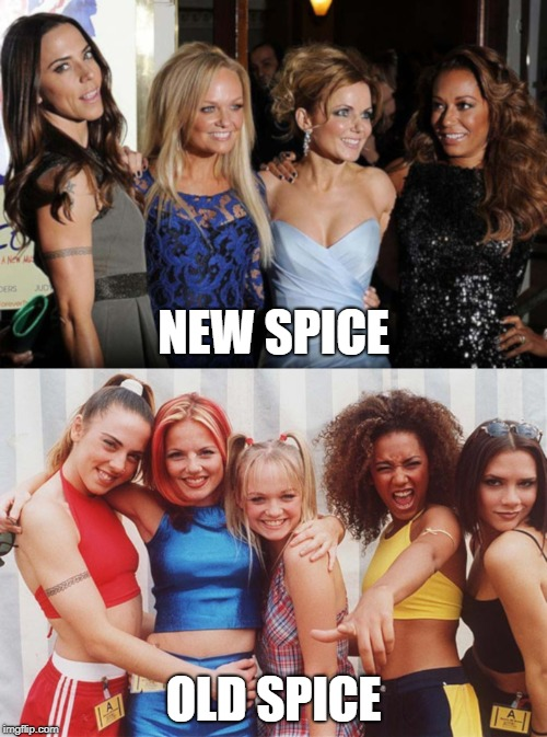 Spice Girls | NEW SPICE OLD SPICE | image tagged in new,spice,old,band | made w/ Imgflip meme maker