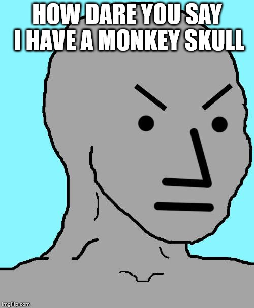 NPC meme angry | HOW DARE YOU SAY I HAVE A MONKEY SKULL | image tagged in npc meme angry | made w/ Imgflip meme maker