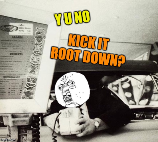 Y U NO KICK IT ROOT DOWN? | made w/ Imgflip meme maker