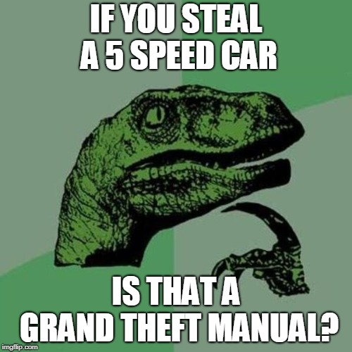 raptor | IF YOU STEAL A 5 SPEED CAR IS THAT A GRAND THEFT MANUAL? | image tagged in raptor | made w/ Imgflip meme maker