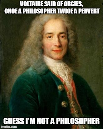 The crap that goes through your mind in the early morning hours | VOLTAIRE SAID OF ORGIES, ONCE A PHILOSOPHER TWICE A PERVERT GUESS I'M NOT A PHILOSOPHER | image tagged in famous quotes | made w/ Imgflip meme maker