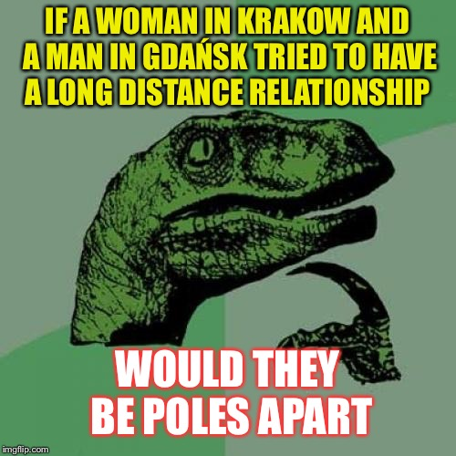 In solidarity ! | IF A WOMAN IN KRAKOW AND A MAN IN GDAŃSK TRIED TO HAVE A LONG DISTANCE RELATIONSHIP WOULD THEY BE POLES APART | image tagged in memes,philosoraptor,polish,poland,extremes | made w/ Imgflip meme maker