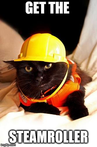 Construction Cat | GET THE STEAMROLLER | image tagged in construction cat | made w/ Imgflip meme maker