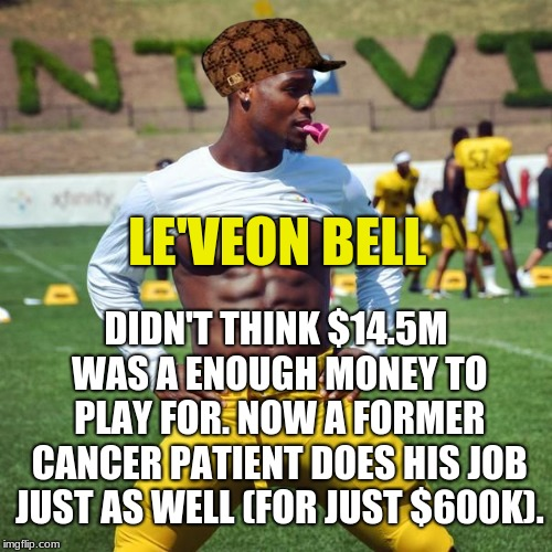 Look up the definition of teamwork. This picture isn't there. | LE'VEON BELL DIDN'T THINK $14.5M WAS A ENOUGH MONEY TO PLAY FOR. NOW A FORMER CANCER PATIENT DOES HIS JOB JUST AS WELL (FOR JUST $600K). | image tagged in le'veon bell,scumbag,memes,pittsburgh steelers,greed,teamwork | made w/ Imgflip meme maker