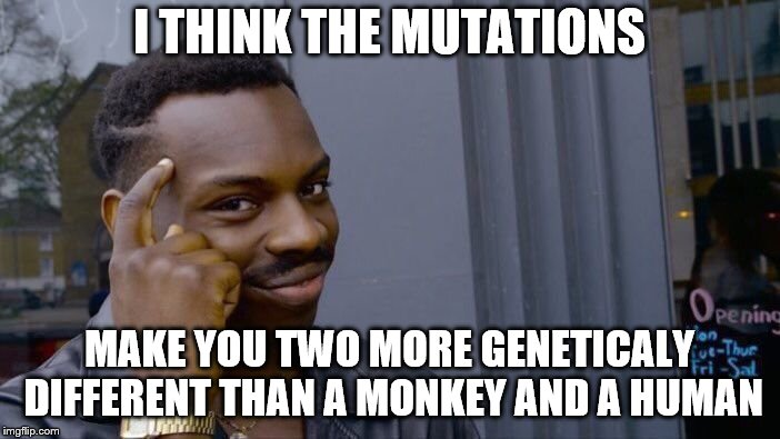 Roll Safe Think About It Meme | I THINK THE MUTATIONS MAKE YOU TWO MORE GENETICALY DIFFERENT THAN A MONKEY AND A HUMAN | image tagged in memes,roll safe think about it | made w/ Imgflip meme maker