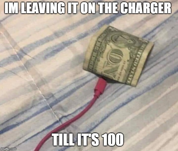 charger account | IM LEAVING IT ON THE CHARGER TILL IT'S 100 | image tagged in money,charger | made w/ Imgflip meme maker