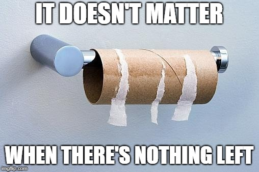 No More Toilet Paper | IT DOESN'T MATTER WHEN THERE'S NOTHING LEFT | image tagged in no more toilet paper | made w/ Imgflip meme maker
