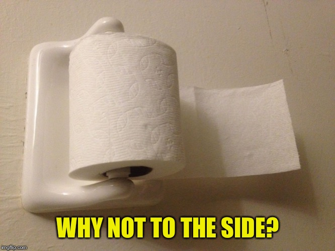 Toilet Paper Wrong | WHY NOT TO THE SIDE? | image tagged in toilet paper wrong | made w/ Imgflip meme maker