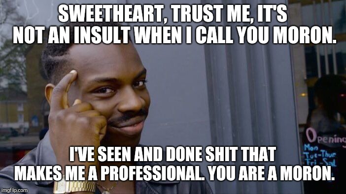 Roll Safe Think About It | SWEETHEART, TRUST ME, IT'S NOT AN INSULT WHEN I CALL YOU MORON. I'VE SEEN AND DONE SHIT THAT MAKES ME A PROFESSIONAL. YOU ARE A MORON. | image tagged in memes,roll safe think about it | made w/ Imgflip meme maker