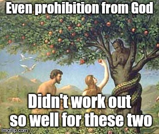 Adam and Eve | Even prohibition from God Didn't work out so well for these two | image tagged in adam and eve | made w/ Imgflip meme maker