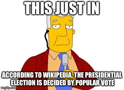 News report | THIS JUST IN ACCORDING TO WIKIPEDIA, THE PRESIDENTIAL ELECTION IS DECIDED BY POPULAR VOTE | image tagged in news report | made w/ Imgflip meme maker