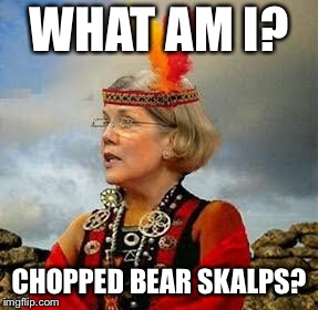 Pocahontas Warren Lizzy | WHAT AM I? CHOPPED BEAR SKALPS? | image tagged in pocahontas warren lizzy | made w/ Imgflip meme maker