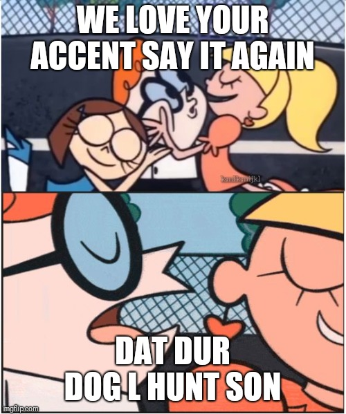 Dexters Lab | WE LOVE YOUR ACCENT SAY IT AGAIN DAT DUR DOG L HUNT SON | image tagged in dexters lab | made w/ Imgflip meme maker
