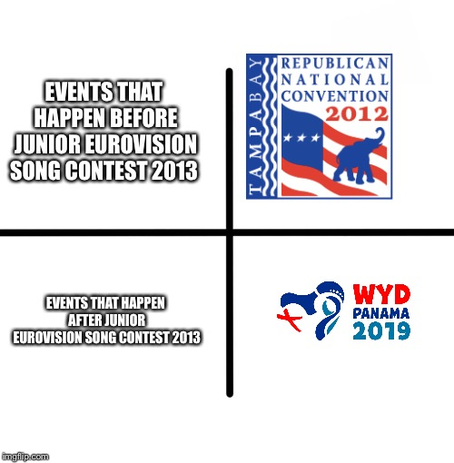 Haha get rekt Malta when you see this meme #JESCMemeWeekNov.12-18 2018 | EVENTS THAT HAPPEN BEFORE JUNIOR EUROVISION SONG CONTEST 2013 EVENTS THAT HAPPEN AFTER JUNIOR EUROVISION SONG CONTEST 2013 | image tagged in memes,blank starter pack,world,youth,day,panama | made w/ Imgflip meme maker