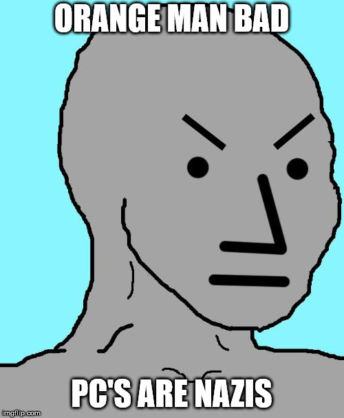 NPC meme angry | ORANGE MAN BAD PC'S ARE NAZIS | image tagged in npc meme angry | made w/ Imgflip meme maker