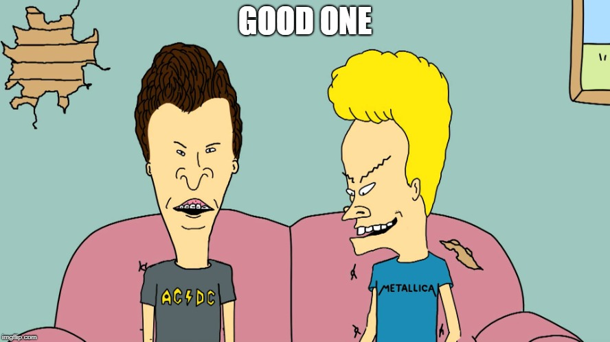 Beevis and Butthead | GOOD ONE | image tagged in beevis and butthead | made w/ Imgflip meme maker