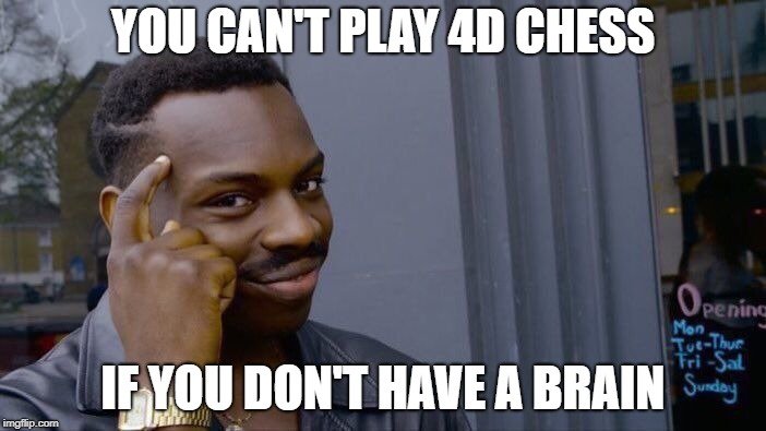 Roll Safe Think About It | YOU CAN'T PLAY 4D CHESS IF YOU DON'T HAVE A BRAIN | image tagged in memes,roll safe think about it | made w/ Imgflip meme maker