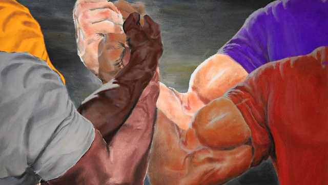 Four arm handshake Blank Template - Imgflip