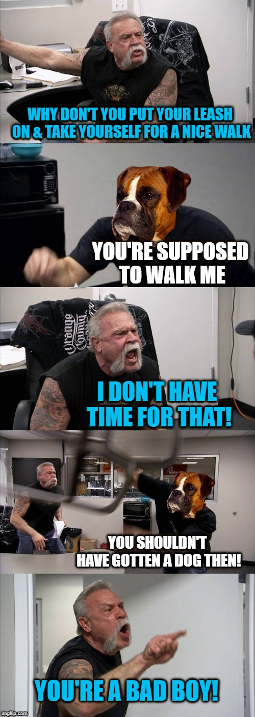 American Dog Argument  | WHY DON'T YOU PUT YOUR LEASH ON & TAKE YOURSELF FOR A NICE WALK YOU'RE SUPPOSED TO WALK ME I DON'T HAVE TIME FOR THAT! YOU SHOULDN'T HAVE GO | image tagged in funny memes,dog,boxer dog,american chopper argument | made w/ Imgflip meme maker