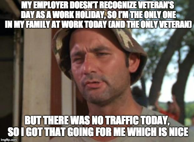 So I Got That Goin For Me Which Is Nice Meme |  MY EMPLOYER DOESN'T RECOGNIZE VETERAN'S DAY AS A WORK HOLIDAY, SO I'M THE ONLY ONE IN MY FAMILY AT WORK TODAY (AND THE ONLY VETERAN); BUT THERE WAS NO TRAFFIC TODAY, SO I GOT THAT GOING FOR ME WHICH IS NICE | image tagged in memes,so i got that goin for me which is nice,AdviceAnimals | made w/ Imgflip meme maker