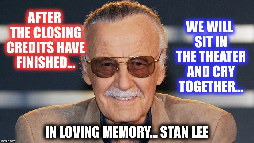 RIP Stan Lee | AFTER THE CLOSING CREDITS HAVE FINISHED... IN LOVING MEMORY... STAN LEE WE WILL SIT IN THE THEATER AND CRY TOGETHER... | image tagged in rip,stan lee,dead | made w/ Imgflip meme maker
