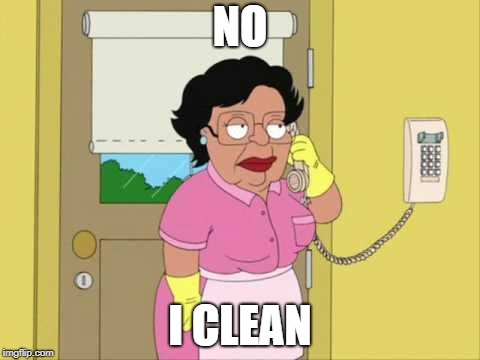 Consuela Meme | NO I CLEAN | image tagged in memes,consuela | made w/ Imgflip meme maker