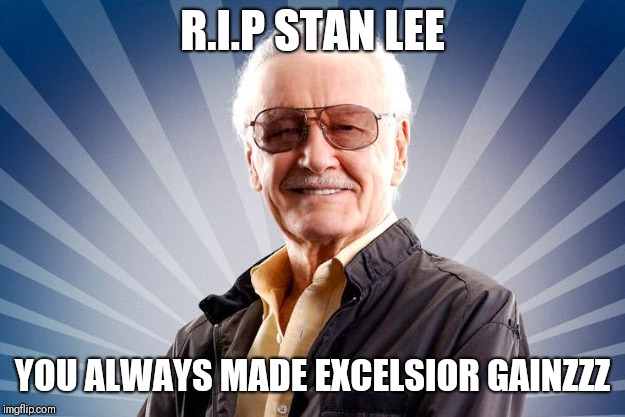 Stan Lee | R.I.P STAN LEE YOU ALWAYS MADE EXCELSIOR GAINZZZ | image tagged in stan lee | made w/ Imgflip meme maker