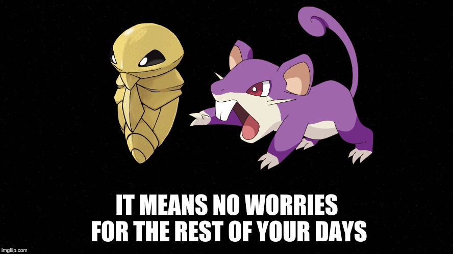 Kakuna Rattata | IT MEANS NO WORRIES FOR THE REST OF YOUR DAYS | image tagged in black,kakuna,rattata,hakuna matata | made w/ Imgflip meme maker