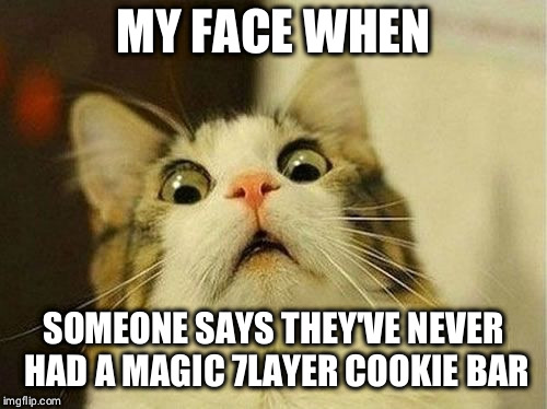 My face when someone... | MY FACE WHEN SOMEONE SAYS THEY'VE NEVER HAD A MAGIC 7LAYER COOKIE BAR | image tagged in memes,cookies | made w/ Imgflip meme maker