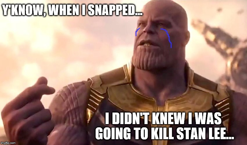 thanos snap | Y'KNOW, WHEN I SNAPPED... I DIDN'T KNEW I WAS GOING TO KILL STAN LEE... | image tagged in thanos snap | made w/ Imgflip meme maker