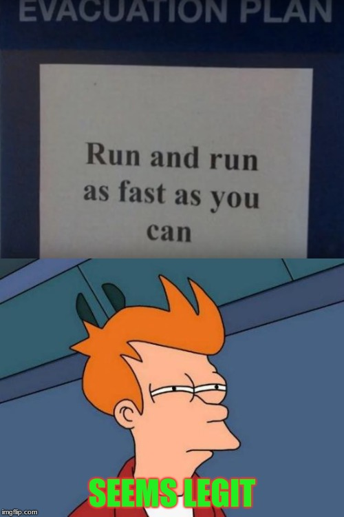 Best Plan Ever | SEEMS LEGIT | image tagged in memes,funny,stupid signs,futrama fry,seems legit | made w/ Imgflip meme maker