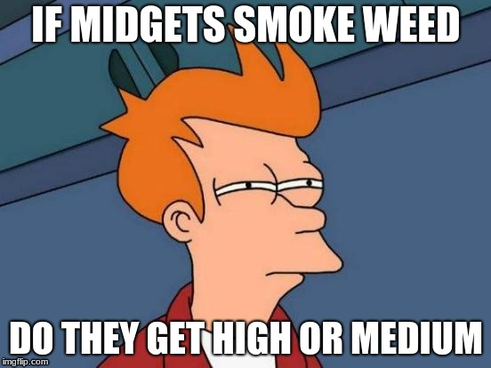 Futurama Fry Meme | IF MIDGETS SMOKE WEED DO THEY GET HIGH OR MEDIUM | image tagged in memes,futurama fry | made w/ Imgflip meme maker