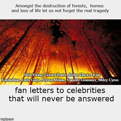 The Mean Meme | Amongst the destruction of forests,  homes and loss of life let us not forget the real tragedy fan letters to celebrities that will never be | image tagged in wildfires,celebrities,fan mail | made w/ Imgflip meme maker