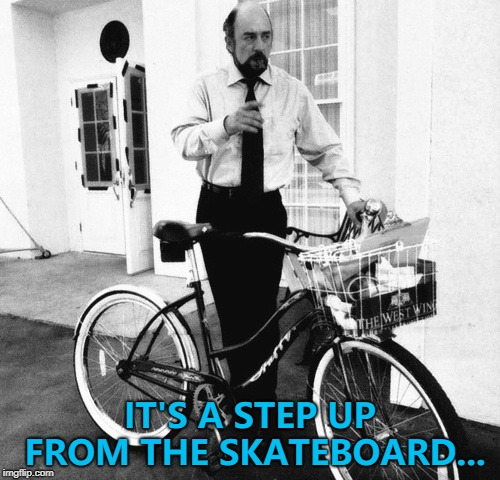 Martin Sheen got a moped... :) | IT'S A STEP UP FROM THE SKATEBOARD... | image tagged in toby ziegler west wing bicycle,memes,tv,skateboard | made w/ Imgflip meme maker