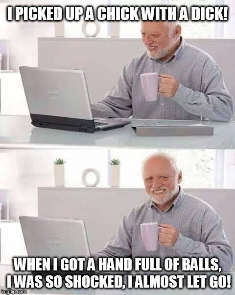 Hide the Pain Harold Meme | I PICKED UP A CHICK WITH A DICK! WHEN I GOT A HAND FULL OF BALLS, I WAS SO SHOCKED, I ALMOST LET GO! | image tagged in memes,hide the pain harold | made w/ Imgflip meme maker