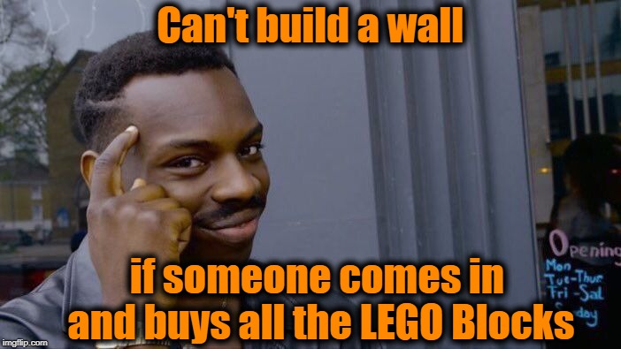 Roll Safe Think About It Meme | Can't build a wall if someone comes in and buys all the LEGO Blocks | image tagged in memes,roll safe think about it | made w/ Imgflip meme maker