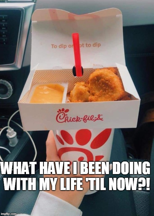 I have learned the secret... |  WHAT HAVE I BEEN DOING WITH MY LIFE 'TIL NOW?! | image tagged in sudden realization,how it works,chick-fil-a,chicken nuggets,memes | made w/ Imgflip meme maker