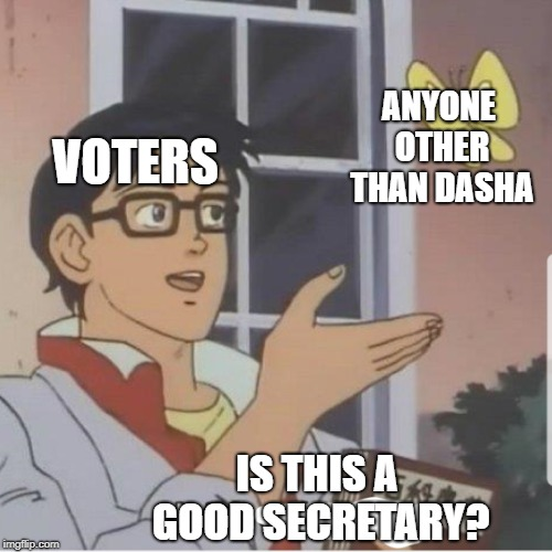 Butterfly man |  ANYONE OTHER THAN DASHA; VOTERS; IS THIS A GOOD SECRETARY? | image tagged in butterfly man | made w/ Imgflip meme maker