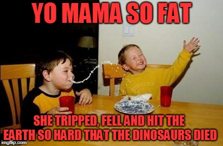 Yo Momma So Fat | YO MAMA SO FAT SHE TRIPPED, FELL AND HIT THE EARTH SO HARD THAT THE DINOSAURS DIED | image tagged in yo momma so fat | made w/ Imgflip meme maker
