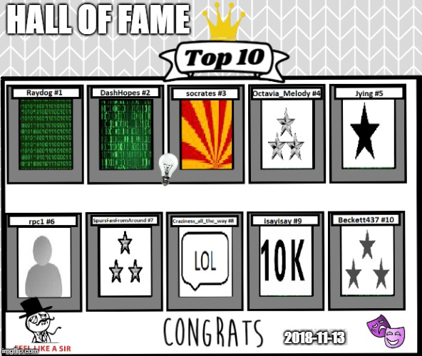 Hall of Fame 2018  |  HALL OF FAME; 2018-11-13 | image tagged in raydog,dashhopes,socrates,octavia_melody,jying,rpc1 | made w/ Imgflip meme maker